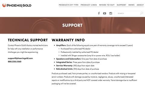 Screenshot of Support Page phoenixgold.com - Support - Phoenix Gold - captured Dec. 24, 2017