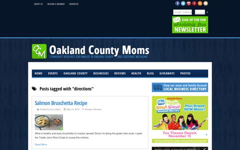 Screenshot of Maps & Directions Page oaklandcountymoms.com - directions - Oakland County Moms - captured Oct. 7, 2014