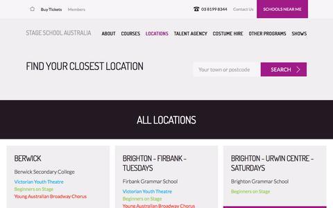 Screenshot of Locations Page stageschool.com.au - Locations | Stage School Australia - captured Feb. 23, 2018