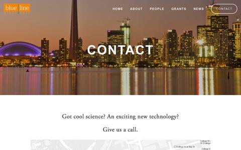 Screenshot of Contact Page bluelinebio.com - Contact — Blueline Bioscience - captured Oct. 5, 2014
