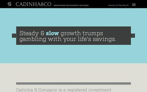 Screenshot of Home Page cadinha.com - Cadinha & Co. - Registered Investment Advisers. - captured Jan. 24, 2016