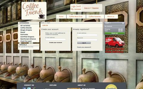 Screenshot of Login Page coffeefriends.com.au - Authentication - Coffee Friends - captured Sept. 30, 2014