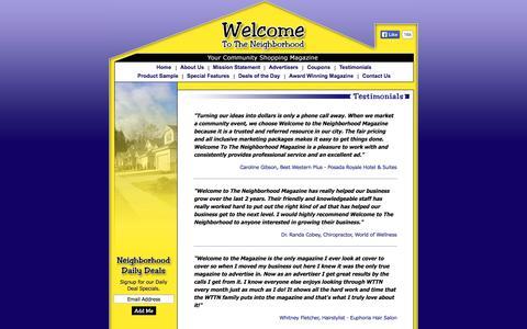 Screenshot of Testimonials Page myneighborhoodmagazine.com - About Ads Unlimited, Inc. - captured Oct. 26, 2014