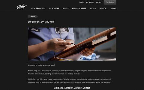 Screenshot of Jobs Page kimberamerica.com - Kimber America | Careers - captured July 4, 2017