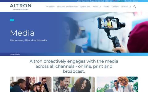 Screenshot of Press Page altron.com - Media | Altron - captured Oct. 21, 2018