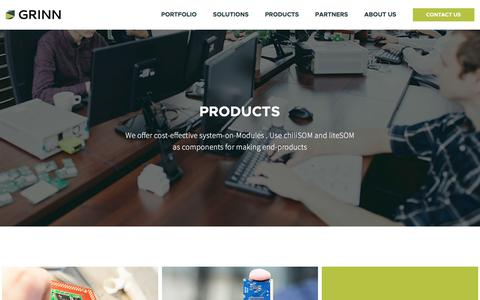 Screenshot of Products Page grinn-global.com - Products | Grinn Global - captured July 25, 2018