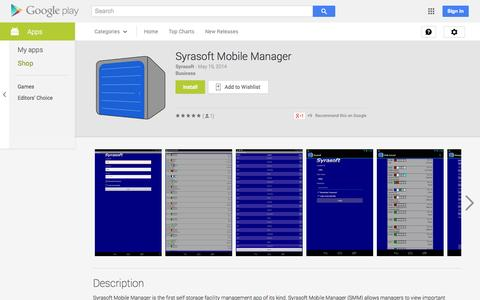 Screenshot of Android App Page google.com - Syrasoft Mobile Manager - Android Apps on Google Play - captured Oct. 25, 2014