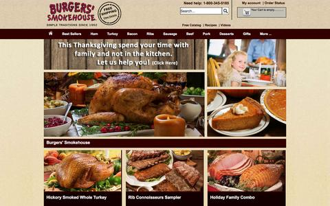 Screenshot of Home Page smokehouse.com - Hickory Smoked Meats | Burgers' Smokehouse | Mail Order Meat - captured Nov. 18, 2016