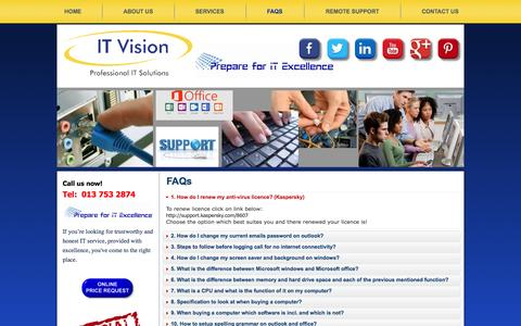 Screenshot of FAQ Page itvision.co.za - FAQs - captured Oct. 5, 2014