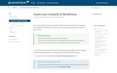 Screenshot of Developers Page sendinblue.com - Import your contacts to Sendinblue - captured Nov. 1, 2019
