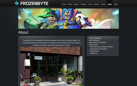 Screenshot of About Page frozenbyte.com - About | Frozenbyte - captured Oct. 6, 2014