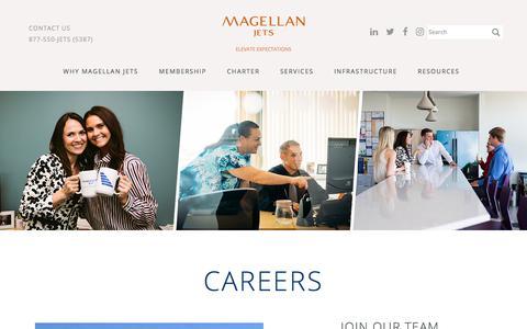 Screenshot of Jobs Page magellanjets.com - Career Opportunities | Magellan Jets - captured Sept. 8, 2017