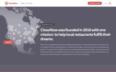 Screenshot of About Page chownow.com - About - ChowNow - captured Oct. 28, 2014