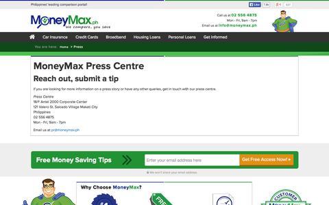 Screenshot of Press Page moneymax.ph - Press Center | MoneyMax.ph - captured Oct. 26, 2014