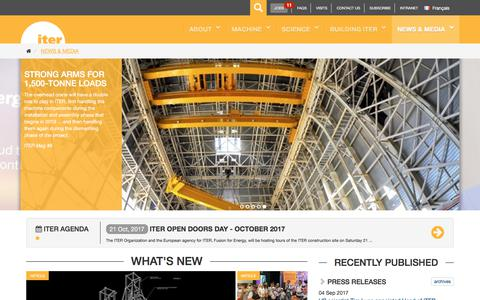 Screenshot of Press Page iter.org - ITER - the way to new energy - captured Oct. 14, 2017