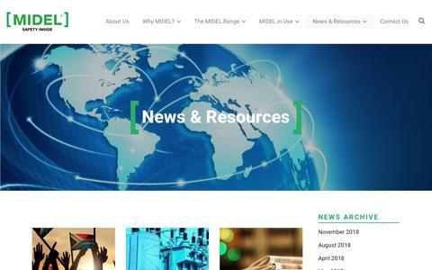Screenshot of Press Page midel.com - News and Resources - all about MIDEL ester transformer fluids - captured Nov. 15, 2018