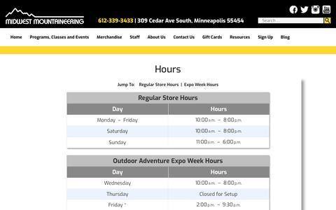 Screenshot of Hours Page midwestmtn.com - Hours - Midwest Mountaineering - captured Oct. 19, 2018