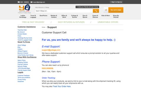 Screenshot of Support Page yobags.com - Support - captured Oct. 2, 2014
