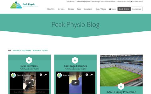 Screenshot of Blog peakphysio.ie - Peak Physio Blog | Peak Physio - captured Nov. 4, 2018