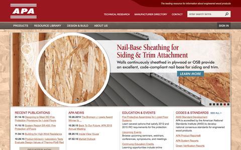 Screenshot of Home Page apawood.org - Home - APA – The Engineered Wood Association - captured Feb. 4, 2016