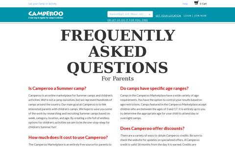 Screenshot of FAQ Page camperoo.com - Camperoo Marketplace | Unique Camps and Activities -- A Convenient Way to Register - captured July 19, 2014