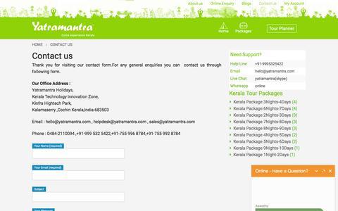 Screenshot of Contact Page yatramantra.com - Contact us - Yatramantra - captured July 23, 2016