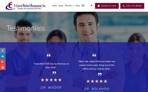 Screenshot of Testimonials Page ecmmgt.com - Testimonials - E Central Medical Management, Inc. - captured July 8, 2017