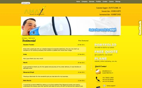 Screenshot of Testimonials Page amax.in - AMAX - Partners in web success ( Web Development | Software Development | Website Design | Website Development | Social Media Marketing) - captured Oct. 1, 2014