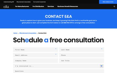 Screenshot of Contact Page earnestassoc.com - Contact Us | ERP Experts | Earnest & Associates - captured Sept. 26, 2018