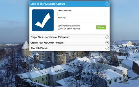 Screenshot of Login Page kidcheck.com - KidCheck : Secure Check-in for Childcare Professionals - captured Jan. 9, 2016