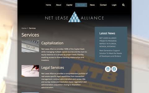 Screenshot of Services Page netleasealliance.com - Services - captured Oct. 9, 2014