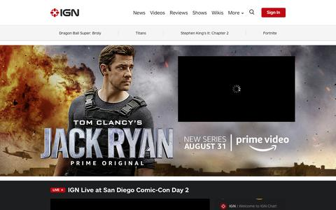 Screenshot of Home Page ign.com - Video Game News, Reviews, and Walkthroughs - IGN.com - captured July 21, 2018