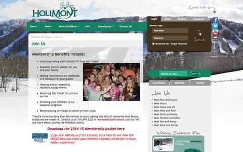 Screenshot of Signup Page holimont.com - HoliMont Ski Resort | Join Us | Ellicottville, New York | Skiing, Lodging, Vacation Packages, Snowboarding, Terrain Parks, Halfpipe - captured Oct. 2, 2014