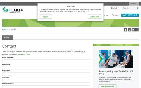 Screenshot of Contact Page hexagonagriculture.com - Contact | Hexagon - captured July 6, 2018