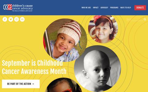 Screenshot of Home Page childrenscause.org - Children's Cause for Cancer Advocacy - captured Sept. 27, 2018