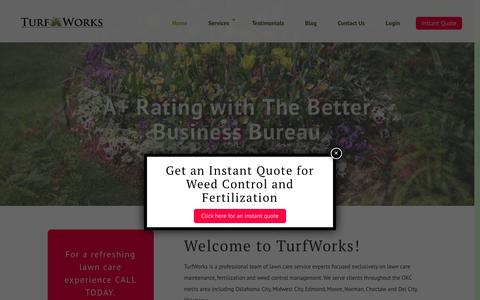 Screenshot of Home Page turfworksok.com - Lawn Care: Weed Control & Aeration Service in Oklahoma City OK - captured Oct. 19, 2018
