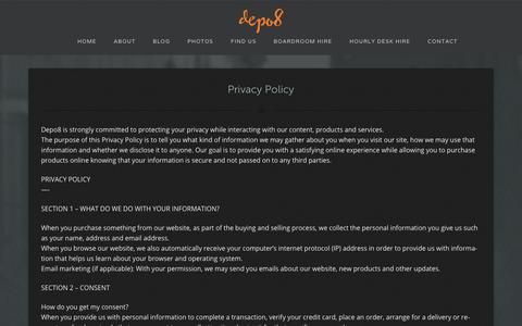 Screenshot of Privacy Page depo8.com - Privacy Policy - Depo8 Coworking and shared offices - captured Dec. 9, 2018