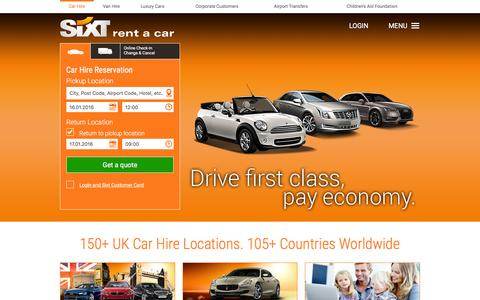 Screenshot of Home Page sixt.co.uk - Car Hire & Van Hire - Europe & Worldwide | Sixt Car Rental - captured Jan. 14, 2016