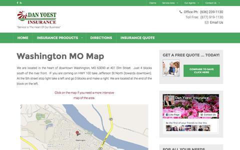Screenshot of Maps & Directions Page yoestins.com - Washington MO Insurance Map   Dan Yoest Insurance Agency - captured Feb. 8, 2016