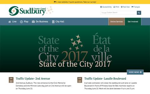Screenshot of Home Page greatersudbury.ca - Home - Greater Sudbury - captured June 23, 2017