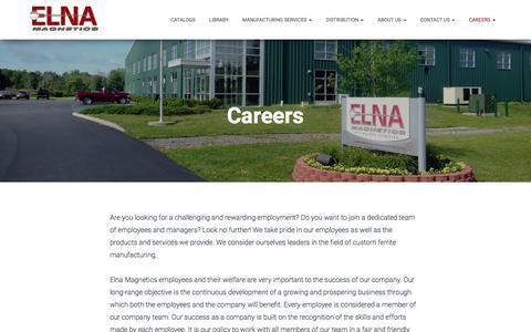Screenshot of Jobs Page elnamagnetics.com - Careers – Elna Magnetics - captured July 18, 2018