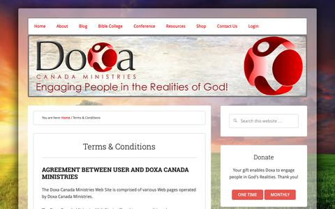 Screenshot of Terms Page doxa-canada.com - Terms & Conditions - captured Dec. 19, 2018