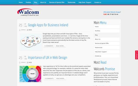 Screenshot of Blog walcom.ie - website design swords   joomla training course   web design north dublin    brochure websites, seo ireland - Blog - captured March 29, 2016