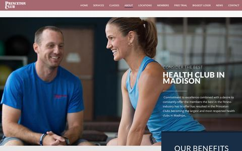 Screenshot of About Page princetonclub.net - About Princeton Club | Madison Athletic Club and Fitness | Madison, WI - captured Jan. 29, 2017