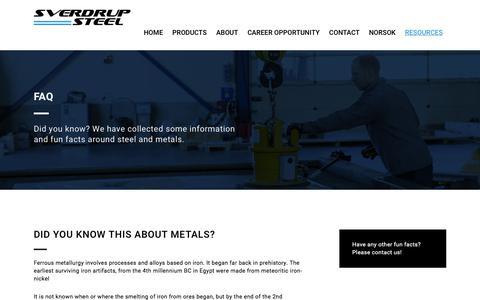 Screenshot of FAQ Page sverdrupsteel.com - FAQ - Sverdrup Steel - captured Nov. 2, 2017