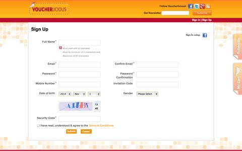 Screenshot of Signup Page voucherlicious.com - Voucherlicious | User Registration - captured Nov. 2, 2014
