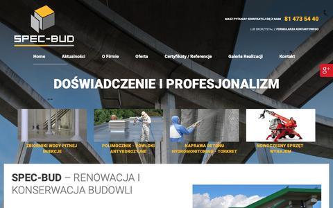 Screenshot of Home Page spec-bud.com.pl - Osuszanie i izolacja wodochronna budynków: Lublin | SPEC-BUD - captured Oct. 27, 2018