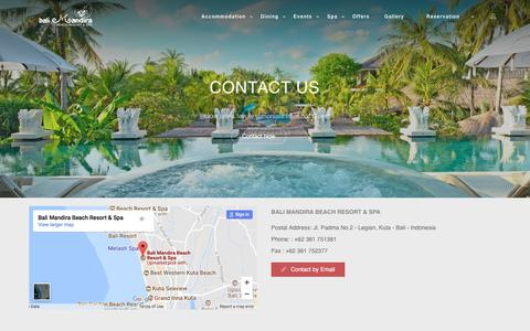 Screenshot of Contact Page balimandira.com - Contact Us | Bali Mandira Beach Resort & Spa - captured Oct. 9, 2017