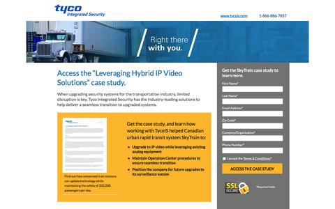 Screenshot of Landing Page tycois.com - Access the Leveraging Hybrid IP Video Solutions Case Study | TycoIS - captured Aug. 18, 2016