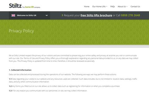 Screenshot of Privacy Page stiltz.co.uk - Privacy Policy | Stiltz Domestic Lifts - captured Dec. 17, 2016